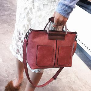 PU Leather Tote Bag - RED