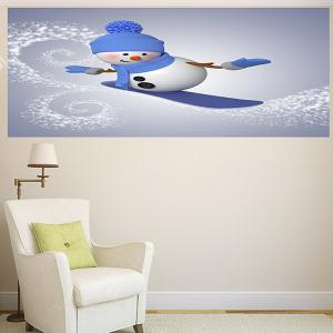 Multifunction Christmas Skiing Snowman Pattern Wall Sticker - BLUE + GREY 1PC:24*24 INCH( NO FRAME )