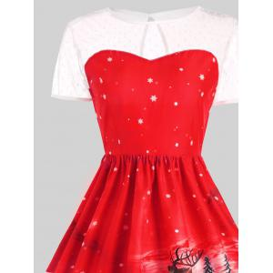 Father Christmas Sleigh Party Gown Dress - RED S