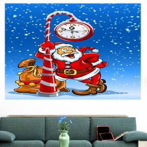 Multifunction Christmas Clock Santa Claus Pattern Wall Sticker - COLORFUL 1PC:24*35 INCH( NO FRAME )