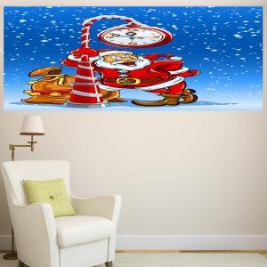 Multifunction Christmas Clock Santa Claus Pattern Wall Sticker - COLORFUL 1PC:24*47 INCH( NO FRAME )