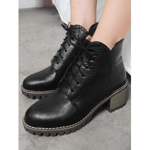 Stitching Chunky Heel Short Boots - BLACK 36