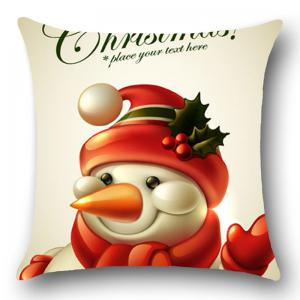 Christmas Happy Snowman Pattern Throw Pillow Case -
