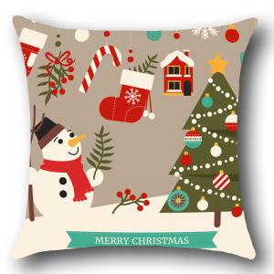 Christmas Decorations Snowman Patterned Throw Pillow Case -