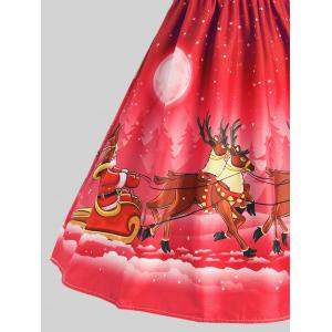 Mesh Panel Sleigh Santa Claus Christmas Party Dress - RED S