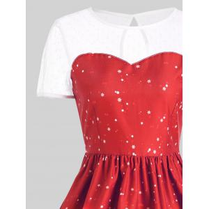 Mesh Panel Sleigh Santa Claus Christmas Party Dress - RED M