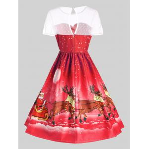Mesh Panel Sleigh Santa Claus Christmas Party Dress - RED L