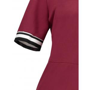 Plus Size Sheath Half Button Polo T-shirt Dress - WINE RED 3XL
