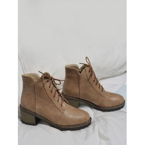 Stitching Chunky Heel Short Boots - DEEP BROWN 36