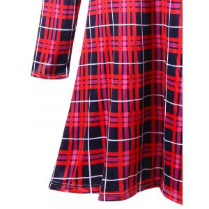 Christmas Plus Size Plaid Swing Mini Dress -