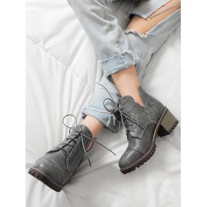 Stitching Curve Chunky Heel Boots - GRAY 39