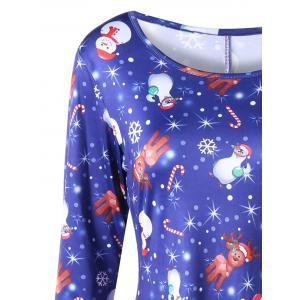 Plus Size Elk Print Long Sleeve Christmas Dress - BLUE 3XL