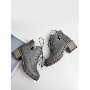 Stitching Curve Chunky Heel Boots - GRAY 37