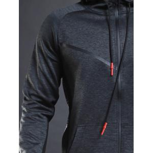 Contrast Drawstring Hooded Sports Track Jacket - GRAY XL
