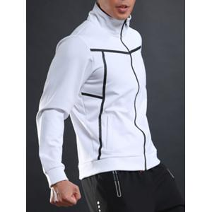 Stand Collar Zip Up Sports Track Jacket - WHITE L
