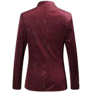 Collarless Single Breasted Printed Blazer - RED 6XL