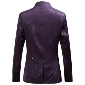 Collarless Single Breasted Printed Blazer - PURPLE 5XL