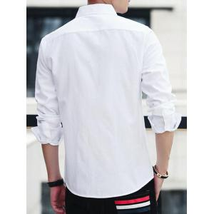 Covered Button Long Sleeve Striped Shirt - WHITE L