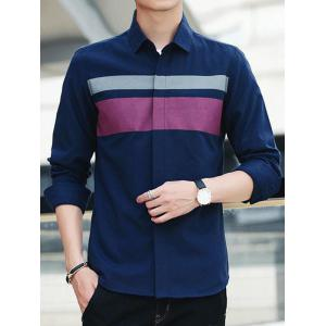 Covered Button Long Sleeve Striped Shirt - CADETBLUE 3XL