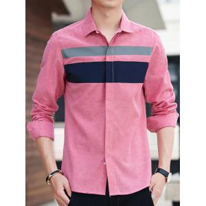 Covered Button Long Sleeve Striped Shirt - PINK 3XL