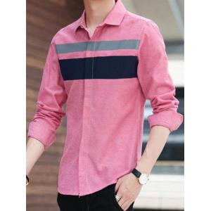 Covered Button Long Sleeve Striped Shirt - PINK M