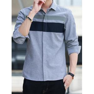Covered Button Long Sleeve Striped Shirt - GRAY 4XL