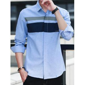 Covered Button Long Sleeve Striped Shirt - WINDSOR BLUE 4XL