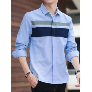 Covered Button Long Sleeve Striped Shirt - WINDSOR BLUE XL