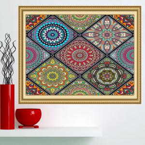 Multifunction Bohemian Geometries Flowers Pattern Wall Art Painting - COLORFUL 1PC:24*24 INCH( NO FRAME )