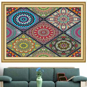 Multifunction Bohemian Geometries Flowers Pattern Wall Art Painting - COLORFUL 1PC:24*35 INCH( NO FRAME )