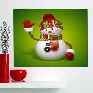 Christmas Snowman Patterned Multifunction Wall Art Painting - GREEN AND WHITE 1PC:24*24 INCH( NO FRAME )