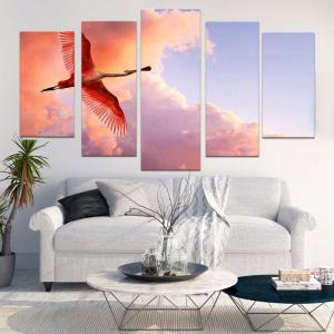 Flying Flamingo Canvas Unframed Painting -