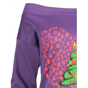 Christmas Tree Heart Printed Asymmetrical Plus Size Tee - PURPLE 2XL