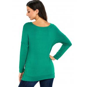 Long Sleeve Button Embellished Tunic Top - GREEN S