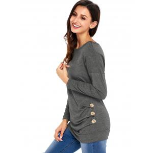 Long Sleeve Button Embellished Tunic Top - GRAY 2XL