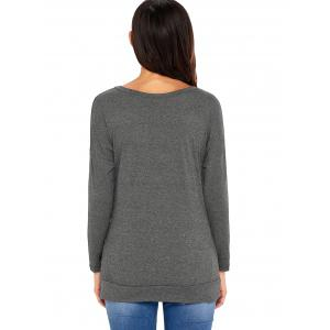 Long Sleeve Button Embellished Tunic Top - GRAY XL
