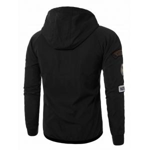 Raglan Sleeve Appliques Zip Up Jacket - BLACK 5XL