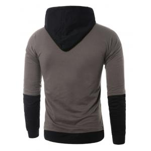 Faux Twinset Panel Pouch Pocket Pullover Hoodie - GRAY M