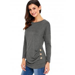 Long Sleeve Button Embellished Tunic Top - GRAY M
