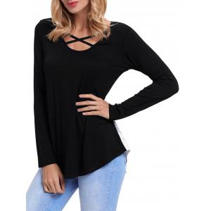 Front Cross Floral Insert Long Sleeve Top - BLACK L