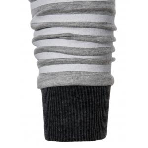 Rib Panel Pouch Pocket Stripe Pullover Hoodie -