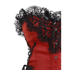 Christmas Lace Hem Steel Boned Corset - RED WITH BLACK L