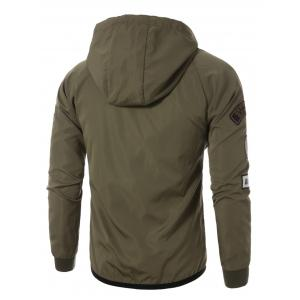 Raglan Sleeve Appliques Zip Up Jacket - ARMY GREEN XL
