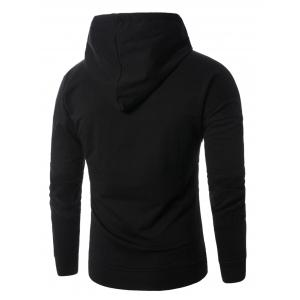 Corduroy Panel Embroidered Pullover Hoodie - BLACK 3XL