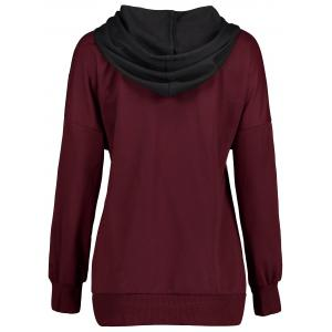 Drawstring Color Block Kangaroo Pocket Hoodie -