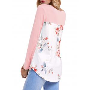 Front Cross Floral Insert Long Sleeve Top - PINK M