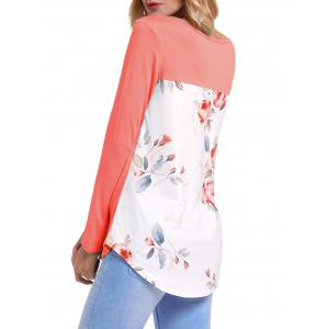 Front Cross Floral Insert Long Sleeve Top - ORANGEPINK L