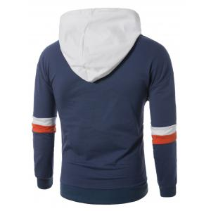 Color Block Panel Drawstring Pullover Hoodie - BLUE 3XL