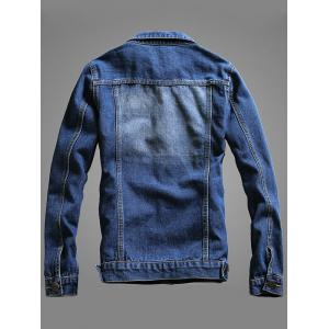 Chest Pocket Button Up Denim Jacket - BLUE 3XL