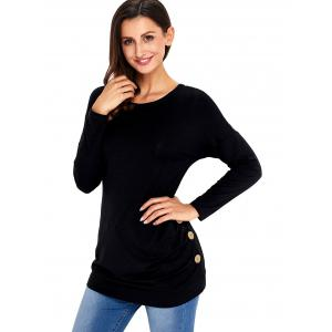 Long Sleeve Button Embellished Tunic Top - BLACK S